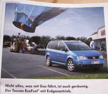 VW Toruan Ecufuel Erdgasantrieb