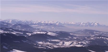 wunderschöne Alpensicht aus dem Ballon
